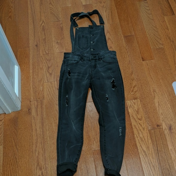 Denim - Dark grey/washed black denim overalls sz 26